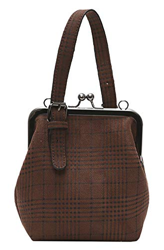 Onfashion Women's Adjustable Strap Shoulder Handbag Crossbody Bag Plaid Clutch Purse Brown