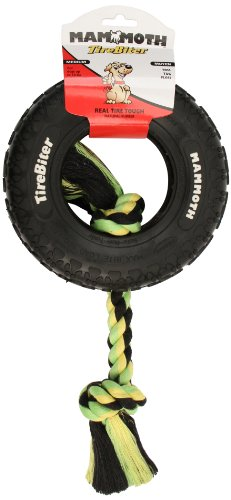 Mammoth TireBiter Chew Toy with Rope, Medium Chew Tire