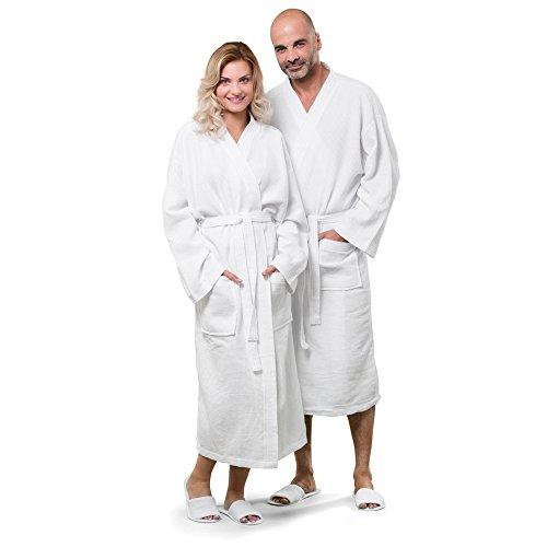 Jassz Towels Constance 100% Cotton Waffle Robe (2X/3X) (Snow - Pique Robe Waffle