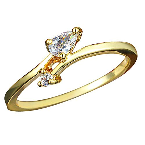 Onefeart Gold Plated Ring for Women Round Cubic Zirconia Simple Design Lucky Goddess Ring Gold US Size 6
