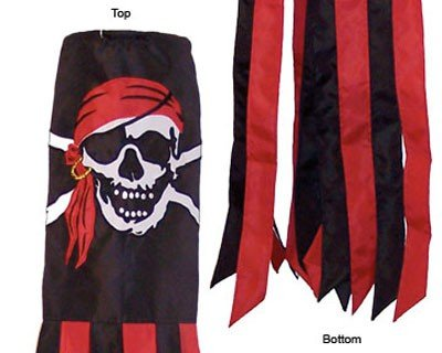 Outdoor Appliqued Windsock (60 Inch Pirate w/ Red Bandana
