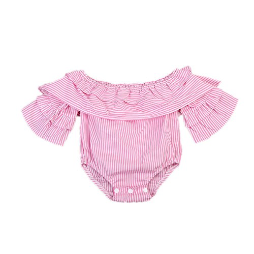 Urkuteba Baby Girl Striped Off Shoulder Lotus Leaf