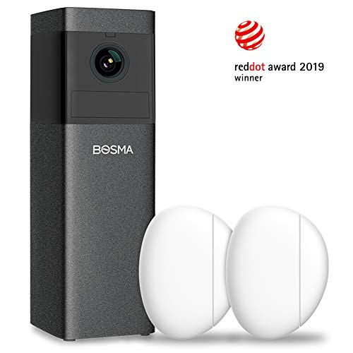 BOSMA X1 Indoor Security Camera, 1080p HD Wifi Camera with Siren Alarm, Color Night Vision, 2-Way Audio, PIR/Motion/Sound Detection, Compatibles with Alexa and Door/Window Sensors