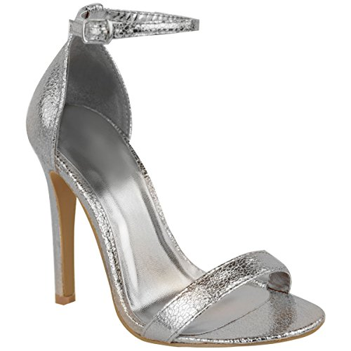 Toe Womens Silver Ankle Fashion Stiletto Heel Shoe Crinkle Strap Thirsty Strappy Metallic Sandals High Cuff Peep HfqfwxPRF5