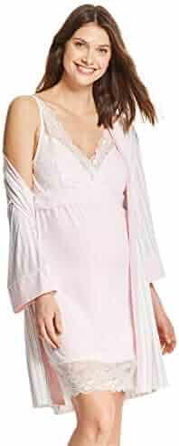 Nanette Lepore WomensMaternity 2 Piece Nursing Nightgown and Robe Pajama Lounge Set