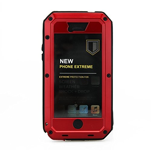 iPhone 5 Case,Amever iPhone SE Case Metal Extreme Water Resistant iPhone 5s Case Shockproof Military Heavy Duty Tempered Glass Cover Case Skin for Apple iPhone 5/5s/SE-Red