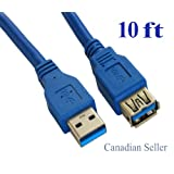 Premium USB 3.0 Type A Male to Type A Female Extension Cable, 10 FT, Blue