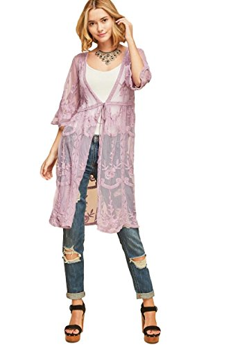 - Entro Ladies Lace Mesh Kimono (Multiple Colors & Sizes) (Small, Lilac Purple)