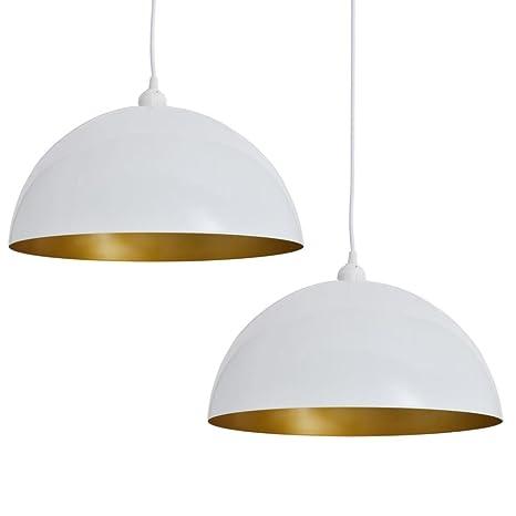 vidaXL 2x Lámparas Techo Altura Ajustable Moderna Semiesférica Blanca y Dorado