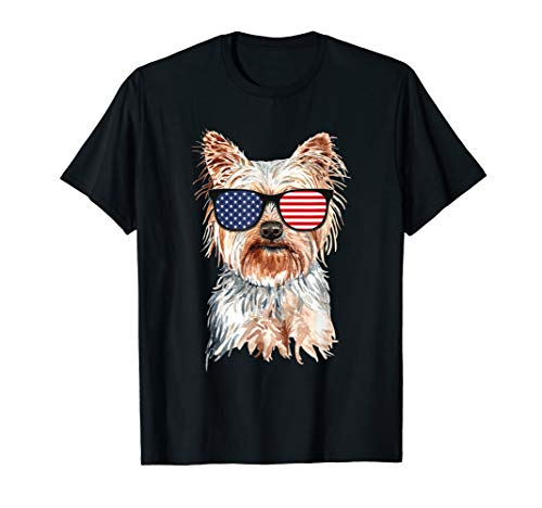 Yorkie Dog American Flag Sunglasses Patriotic Gift T-Shirt