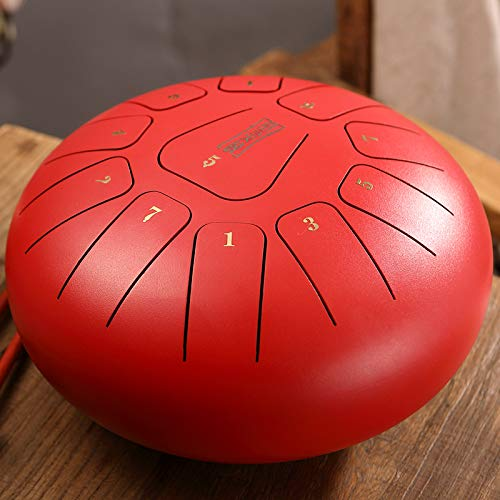 Howardee Alloy Steel Tongue Drum, Percussion Instrument, Mini Tongue Drum Tones, Tune Tank Music Education Carry Instrument for Meditation Yoga (8 Inch 11 Tones,:Red)