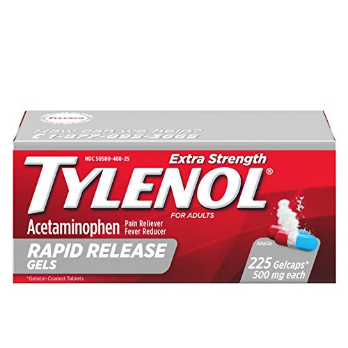 Tylenol Extra Strength Rapid Release Gels with Acetaminophen, Pain Reliever & Fever Reducer, 225 ct ()