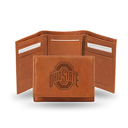 Rico Industries NCAA Ohio State Buckeyes Embossed Leather Trifold Wallet, - Leather Ohio