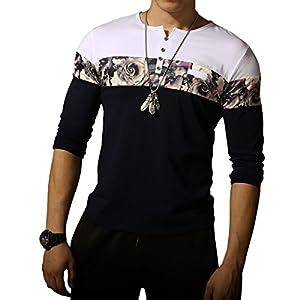 LOGEEYAR Men's Casual Slim Fit Long Sleeve Color Block Printing Henley T-Shirts