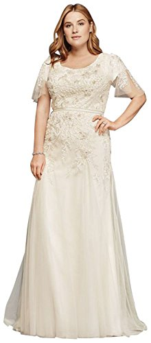 David\'s Bridal Plus Size Modest Wedding Dress with Floral Lace Style ...