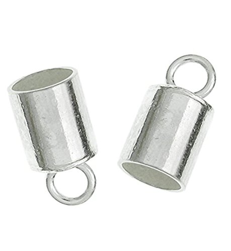 Silver Plated End Caps (50pcs Silver End Caps Barrel for 4mm Leather Cord Ends, Silver Plated Cord Ends Endcap (6x4mm) #CF179)
