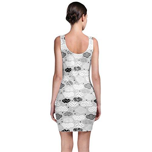 Geometric Clouds Monochrome Bodycon Dress Kleider XS - 3XL
