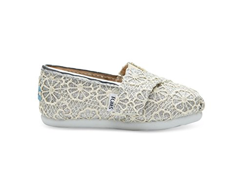 Toms Girls 10006362 ALPARGATA slip on/flat, Silver, 8 M US (Silver Toms For Toddlers)