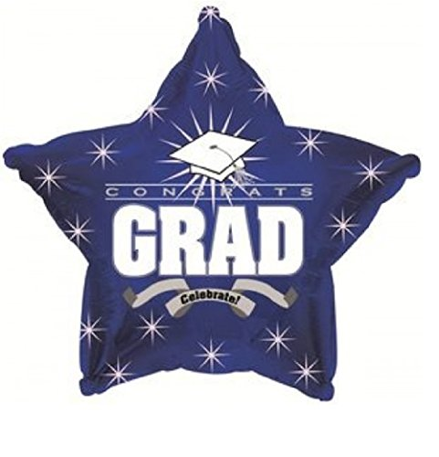 Star Shape Graduation Balloons School Colors - 5 Count (Blue Star)]()