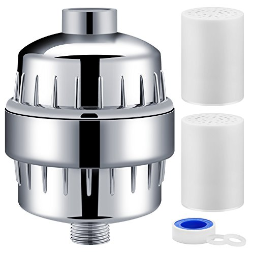 Aqua Homliss 0-Stage Shower Filter with 2 Cartridges - Universal Head Purifier Also Adds Vitamin C for Skin and Hair Health, Showerhead Filter High Output