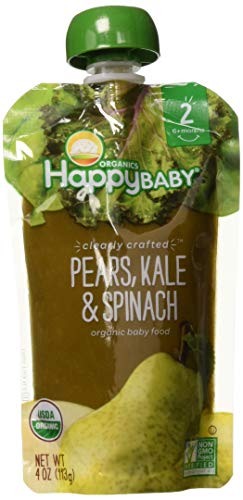 Happy Baby Organic Clearly Crafted Stage 2 Baby Food, Pears/Kale/Spinach, 4 Ounce (Pack of 1)