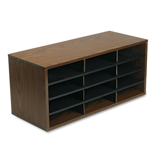 Fellowes 25400 12-Section Compartment Sorter, Melamine Laminated, Medium Oak (Medium Oak Literature Organizer)