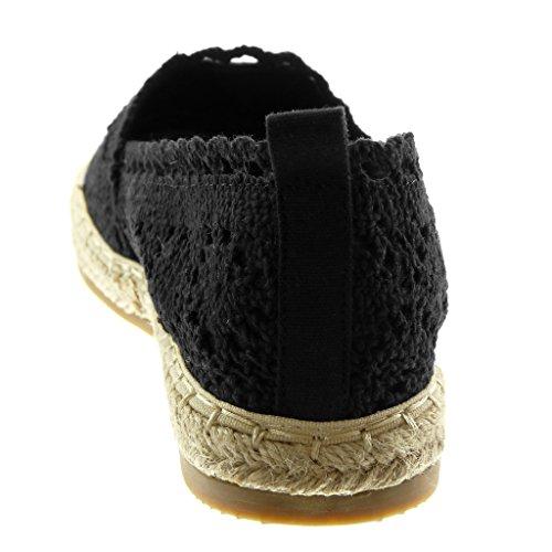 Moda Corda Angkorly Tacco Donna Ricamo cm a 2 on Merletto nero Espadrillas Blocco Scarpe Slip 5Unw4gUq8