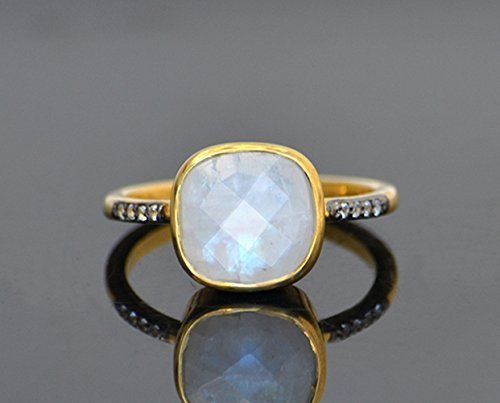 Rainbow Moonstone pave ring, white topaz paved ring, - Moonstone Ring Gold