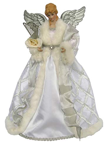 Santa's Workshop Silver and White Angel Tree Topper, 16