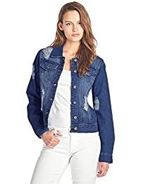 Womens Denim Jean Jacket and Sleeveless Vest