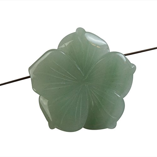 Teng Yu Beautiful 38mm Carved Mixed Gemstone Flower Pendant Bead Choose Your Like (Green - Beads Flower Carved Gemstone