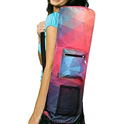 RoryTory Yoga Mat Bag w/ Adjustable Strap, Water Bottle Carrier, Inner & Outer Pockets, Heavy Duty & Machine Washable - Fits Most Yoga Mat Sizes (Pink/Purple)