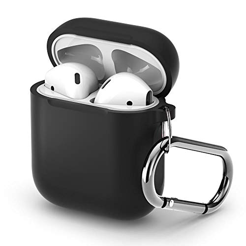 Pothunter-Y Premium Silicone Airpods Case Protective Cover Skin with Carabiner Compatible with Apple Airpods 1 & Airpods 2 (Black) ()