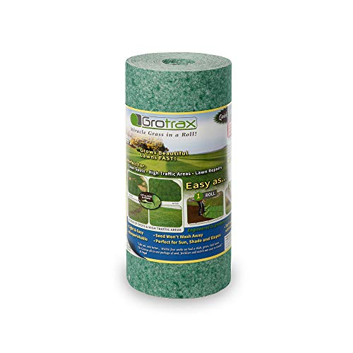 Grotrax | Quick Fix Roll | Year-Round Green Grass Seed Mixture Mat Roll | Great for Lawn Spots, High Traffic Areas and Lawn Repairs | Winter Resistance and Drought Tolerant ()