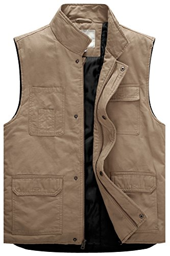 (WenVen Men's Winter Quilted Waistcoat with Multi Pocket (Khaki,Large))