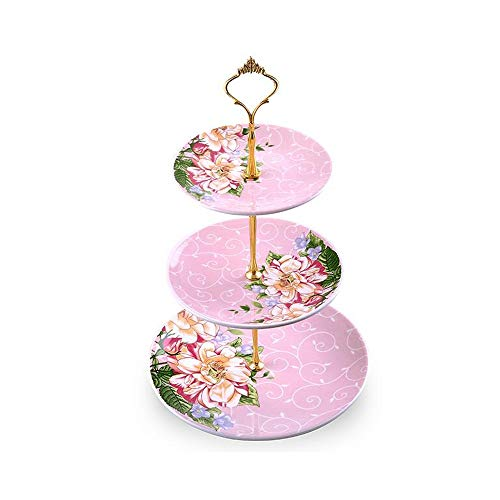 - QIANZICAI Serving Tray Stand|Three Tiered Serving Stand| Round Ceramics Platter for Cupcakes Fruits Dessert Or Tea|Dessert Stand - Party Serving Platter|-Peony Pattern