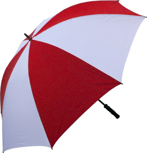 RainStoppers Golf Umbrella with Foam Rubber Handle, Red/Whit
