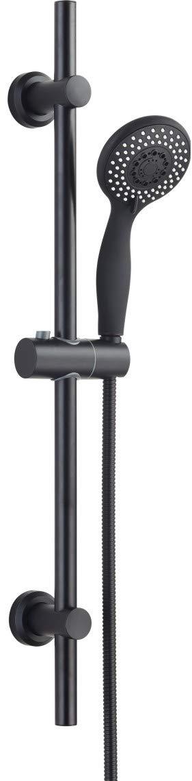 Premium Black 3 Mode Rub Clean Adjustable Slider Riser Rail Shower Kit & Stainless Hose Tailored-Plumb