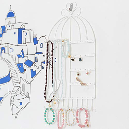 - Clearance Sale!DEESEE(TM)Jewelry Organizer Display Jewelry Stand Hanging Wall-Mounted Vintage Birdcage (White)