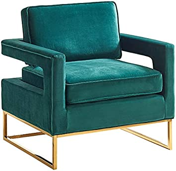 Meridian Furniture Noah Collection Modern | Contemporary Green Velvet  Upholstered Accent Chair with Gold Stainless Steel Base, 33.5"|355|345|?|en|2|0ada606581053f6d9c8f185b731ed6d5|False|UNLIKELY|0.32981207966804504