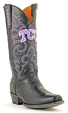 NCAA TCU Horned Frogs Men's Board Room Style Boots, Black, 8 D (M) US (University Of Texas Boots)