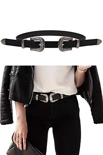 ALAIX Women Leather Two Buckles Belt Ladies Vintage Western Design High Waist Dresses Outfits Belt (Up to 33