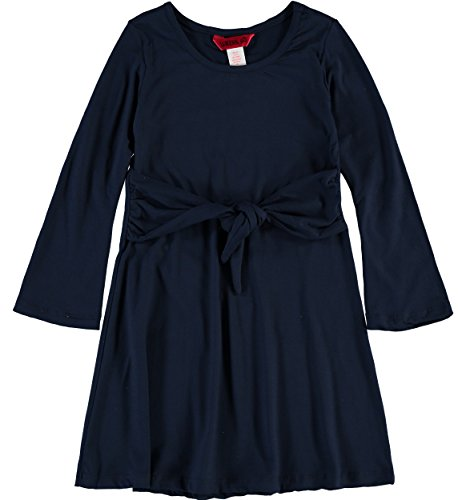 1st Kiss Girls Long Sleeve Casual Dress (Navy, 10-12) (A Girl Kiss A Girl Without Dress)