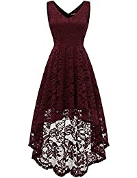 Women s Sleeveless Hi-Lo Lace Formal Dress Cocktail Party Dress V Neck 370eef297c44