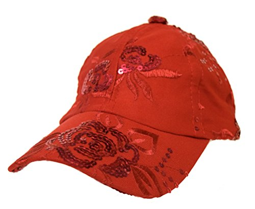 Red Floral Sequin Cap / Velcro Adjustable / Red Hat Ladies Society (Hat Red Clothing Society)