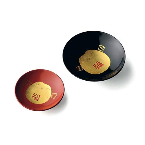 TOKYO MATCHA SELECTION - Fukufuku Happy Sake Cup Pair Set : Gold Black & Red - Japanese Lacquareware [Standard ship by Int'l e-packet: with Tracking & Insurance]