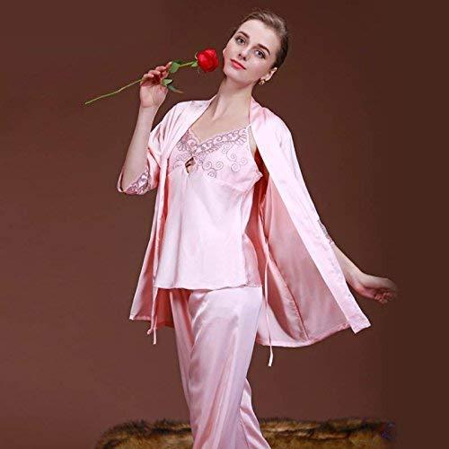 De L Bridge Camisón Sexy Servicio Tres Bordados color Lindo Rosa Pijamas A Pink Piezas Para Damas Seda Giratorios Tamaño Blue Domicilio Verano Traje dwX81qEn1