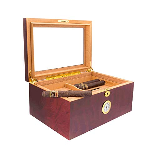 $162.64 cuban crafters humidor Cigar Humidor Desktop Wooden Cigar Box, Can Accommodate 100 Cigars with Large Capacity Hygrometer and Humidifier Key Seal, Cedar Wood Lining Glass Skylight Cigar Cabinet Men's Gift Box Wood Lined 2019