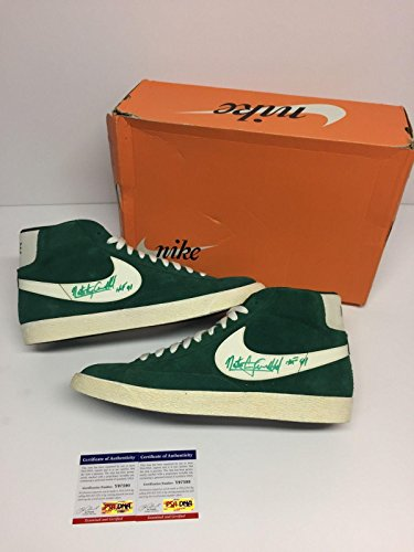 Nate Archibald Dual Signed Vintage Nike Blazer High Retro Basketball Shoes - PSA/DNA Certified - Autographed NBA Sneakers ()