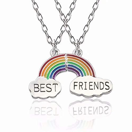 [해외]LOSOUL Rainbow Cloud stitching Best Friends Pendant Necklace BFF Teen Forever Friendship Birthday Gift / LOSOUL Rainbow Cloud stitching Best Friends Pendant Necklace, BFF Teen Forever Friendship Birthday Gift